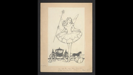 An illustration for the Frontispiece of Ballet Shoes. The pencil illustration shows a ballerina en pointe wearing a fairy costume in front of a carriage being pulled by a horse. There are mice and pumkpins by her feet.