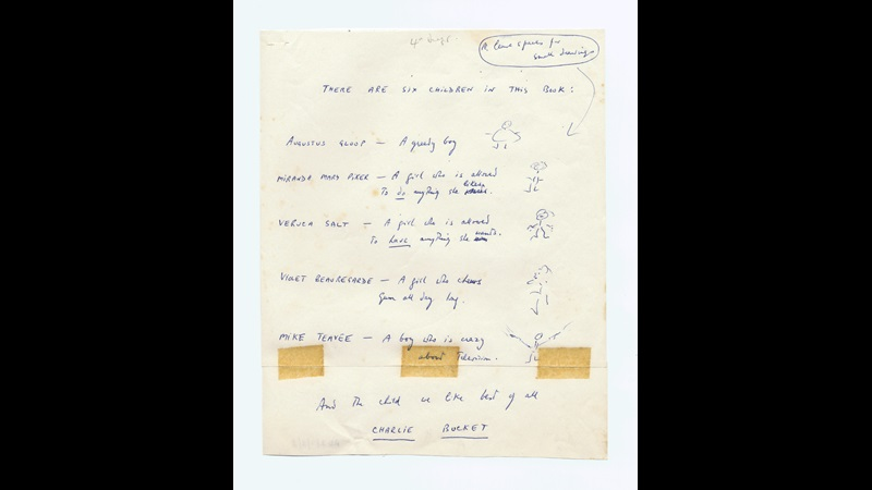 Charlie and the Chocolate Factory manuscript drafts and Roald Dahl's chocolate wrapper ball