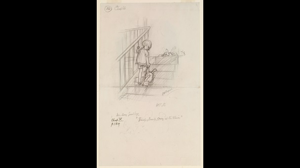 pencil sketch by E H Shepherd. Chrisopher Robin climbs a staircase, in his right hand he is holding his toy bear - Winnie-the-Pooh. He is holding the bear by one leg so the bear's head is dragging on the steps