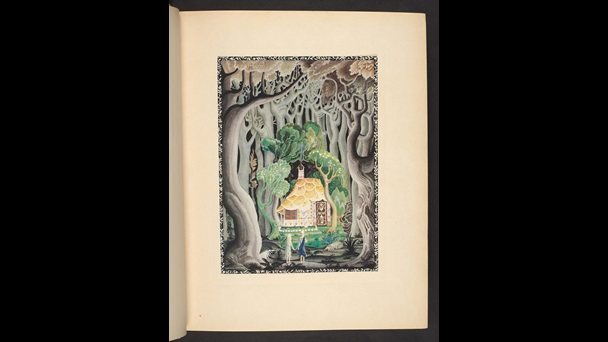 Two blonde children stand in the foreground, back towards the viewer. They face into a sinister dark woodland. A cottage with a small garden of green trees and flowers is in front of them. The cottage appears to be made of baked goods.