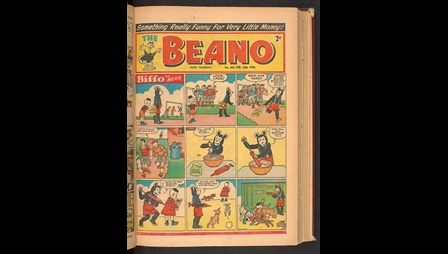 Issue of The Beano, from 13 Febuary 1954. Biffo the Bear has a sign put on his back by a bully, the sign reads 'kick me hard'. The other boys chase him to do as the sign says. Biffo hides. Biffo makes some icing which he uses to write 'Lick me hard' on the back of the bully's coat. The last image shows the bully pinned down by a pack of dogs who are licking the icing off his back.