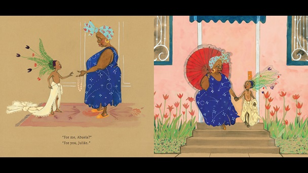 Images from 'Julián is a Mermaid' by Jessica Love. On the left, Julian, who is wearing curtains as a sarong and flowers as a headdress, is being handed a bead necklace by his Abuela. Abuela is dress in a blue and red patterned headscarf, hoop earings, a blue dress and orange sandals. In the right hand image Julian (now wearing the necklace) and Abuela (carrying a red parasol) walk down the front steps of their home, hand in hand.