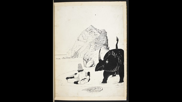 An illustration of a rhino  looking at a seated person. The Rhino looks surprised. From Just So Stories by Rudyard Kipling: manuscript printer's copy with original illustrations