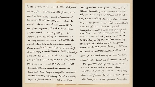 Letters from Kenneth Grahame to his son. Double page spread. The letter describes how Toad is in prison and is made toast and cheered up by two women who work in the prison.