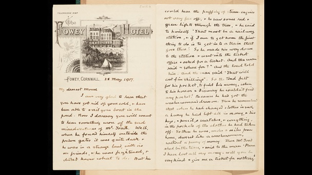 The Wind in the Willows: Letters from Kenneth Grahame to his son, Alastair ('Mouse') Grahame. The image is topped with a printed picture of Fowey Hotel, Cornwall. The letter is handwritten on 28 May 1907.
