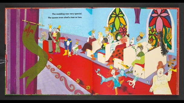 Pages 24-25 of 'King & King' by Linda De Haan and Stern Nijland. Double page illustration. A wedding scene. Guests sit in pews to watch the two princes exchange their vows. A lady dances in the aisle. The Queen, cries with joy in the front row.