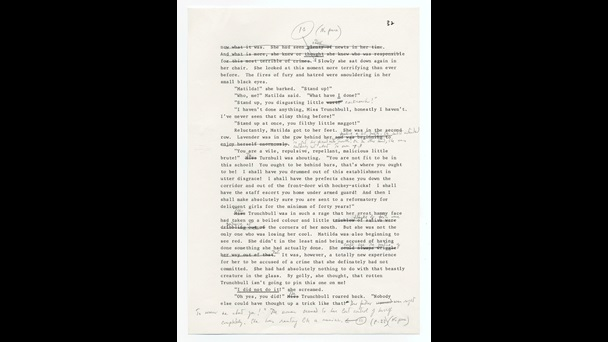 Typescript draft of Matilda by Roald Dahl. Dahl made many crossings out, corrections and notes on the the page by hand.