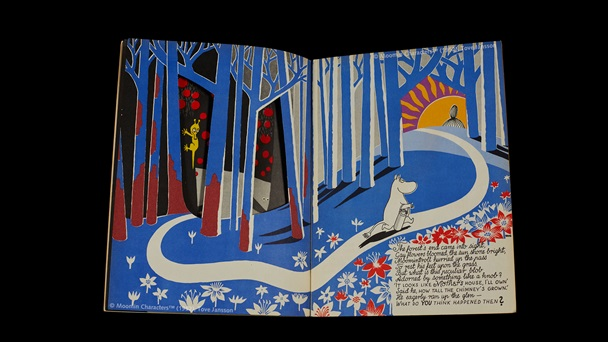 Double page opening. Full page illustrtaions. Moomin walks on a white path through A forest scene shades of blue. Text is in a box towards the bottom right hand corner.