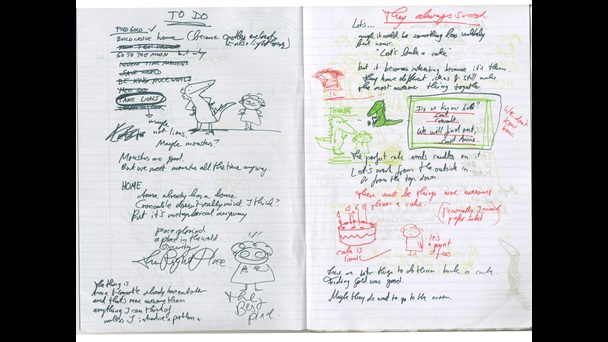Double page spread. Notes and sketches are scattered across the pages. The handwriting is done in various green and red inks. Some of the sketches are only line sketches while others have been filled in with colour and other details.