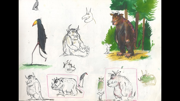 Artworks by Axel Scheffler for The Gruffalo by Julia Donaldson. Sketches of the Gruffalo in various poses. The top right hand sketchis in colour.