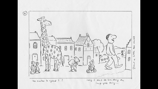 Black and white illustration. A giraffe wearing a scarf along the full length of its neck, is standing in front of a line of houses. An average height couple walk towards him. A pig carrying a sack walks by on his hind legs. A cyclist comes towards the pig. The Giant, nearly as tall as the giraffe, and taller than the houses, is walking out of the town.