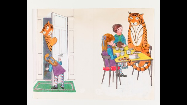 Original artwork for The Tiger Who Came to Tea by Judith Kerr. A colour image of the tiger leaning through the open door to greet Sophie. The right hand image shows Sophie, her mother and the tiger sitting on chairs in the kitchen. The table is set with cake and tea