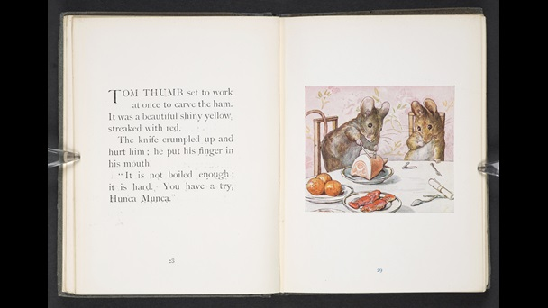 Double page spread from The Tale of Two Bad Mice by Beatrix Potter. Page 29 show a colour illustration of the two mice trying to cut into a roast ham which was on the dining table in the doll house.