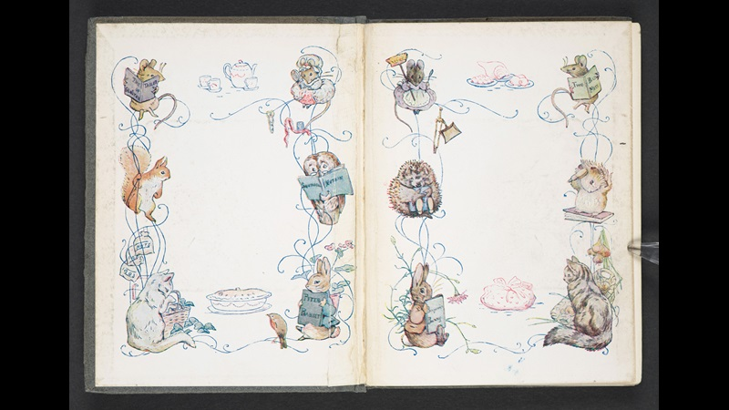 Double page spread from The Tale of Two Bad Mice by Beatrix Potter