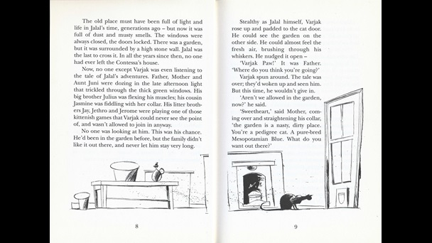 Pages 8-9 of Varjak Paw by S F Said, illustrated by Dave McKean. The illustrations are below the text on each page. The interior of a room streches across both pages. There is a coffee table with vases on it on the left hand page, on the right is a fireplace and a door. An elegant black cat ssits in front of the door peering towards the catflap in the door.