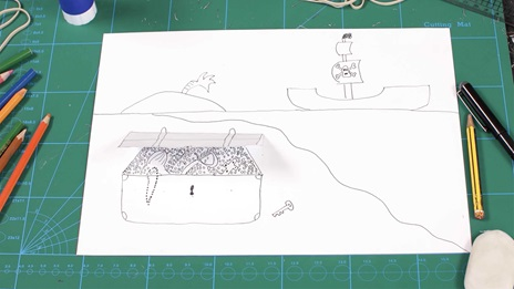 Still from video showing illustration of a treasure chest and colouring pencils