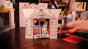 A toy theatre made out of recycled papers