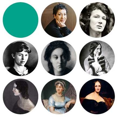 Crops of portraits of women writers including Andrea Levy, Sylvia Plath and George Eliot