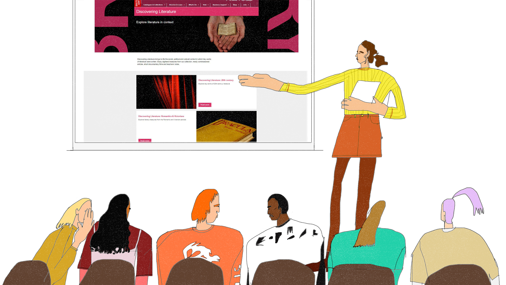 Illustration of person giving oral presentation in front of classroom. On the screen is a page from Discovering Literature. Illustration by Hannah Buckman