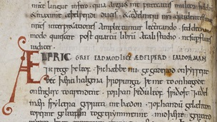 A text page from a manuscript of Ælfric's Lives of the Saints written in Old English.