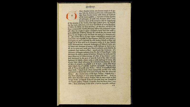 Page containing the Prologue, from Caxton's Canterbury Tales