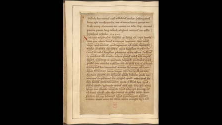 A text page from a manuscript of Ælfric's Colloquy, featuring interlinear glosses in Old English.