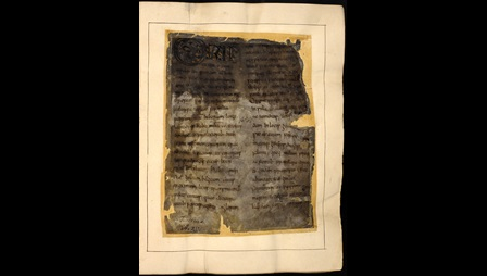 A fire-damaged page from an 8th-century manuscript of Bede's Ecclesiastical History.