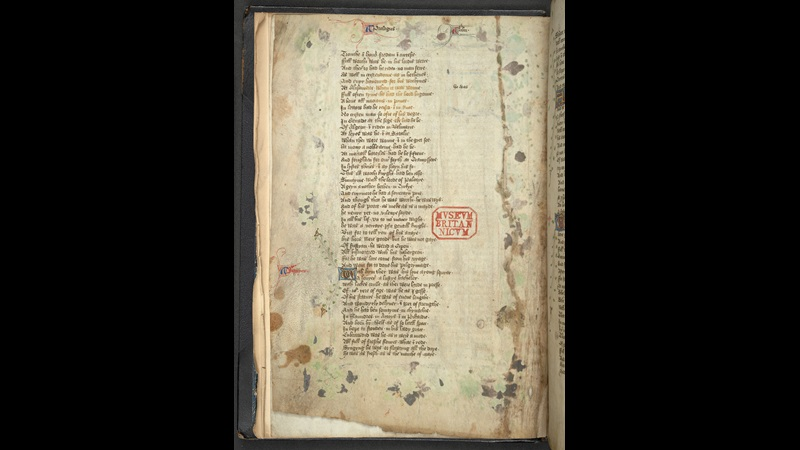 Page containing the Prologue, from a manuscript of the Canterbury Tales