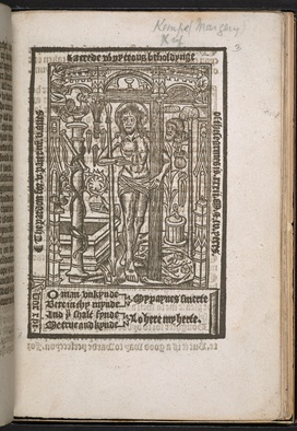 Full page illustation of Jesus Christ holding a cross, from early printed extracts of Margery Kempe's 'Book'