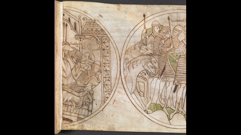The beginning of the Guthlac Roll, featuring illustrations of St Guthlac devoting himself to religious life and leaving military service.