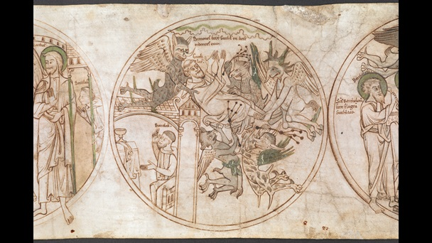 A roundel from the Guthlac Roll, featuring an illustration of of St Guthlac being carried aloft and whipped by demons, while Beccelm prays below before an altar.