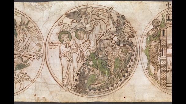 A roundel from the Guthlac Roll, featuring an illustration of St Bartholomew giving a scourge to St Guthlac to drive away the demons who have carried him to the Mouth of Hell.
