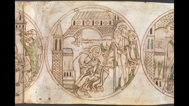 A roundel from the Guthlac Roll, featuring an illustration of St Guthlac casting a demon out of Ecgga by binding a belt around him, while two men look on.