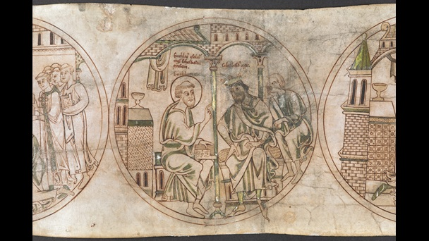 A roundel from the Guthlac Roll, featuring an illustration of St Guthlac comforting the exiled Æthelbald of Mercia.