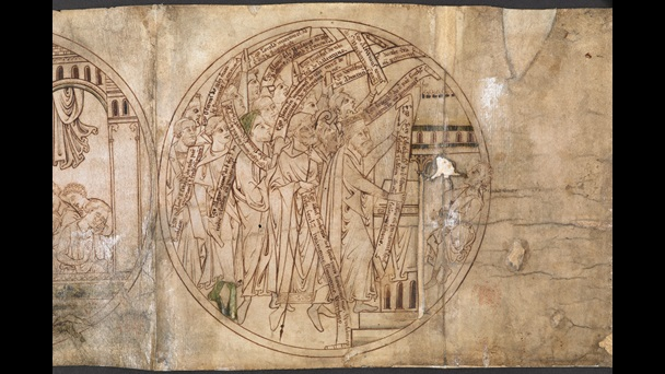 The final roundel of the Guthlac Roll, featuring an illustration of benefactors at St Guthlac's shrine carrying scrolls detailing their donations to Crowland Abbey, and a demoniac being healed.