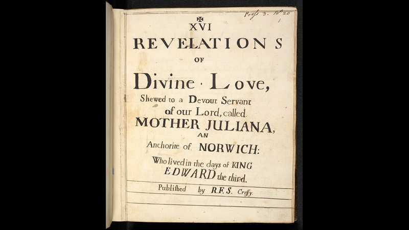Handwritten title page from the long text of the Revelations of Divine Love by Julian of Norwich