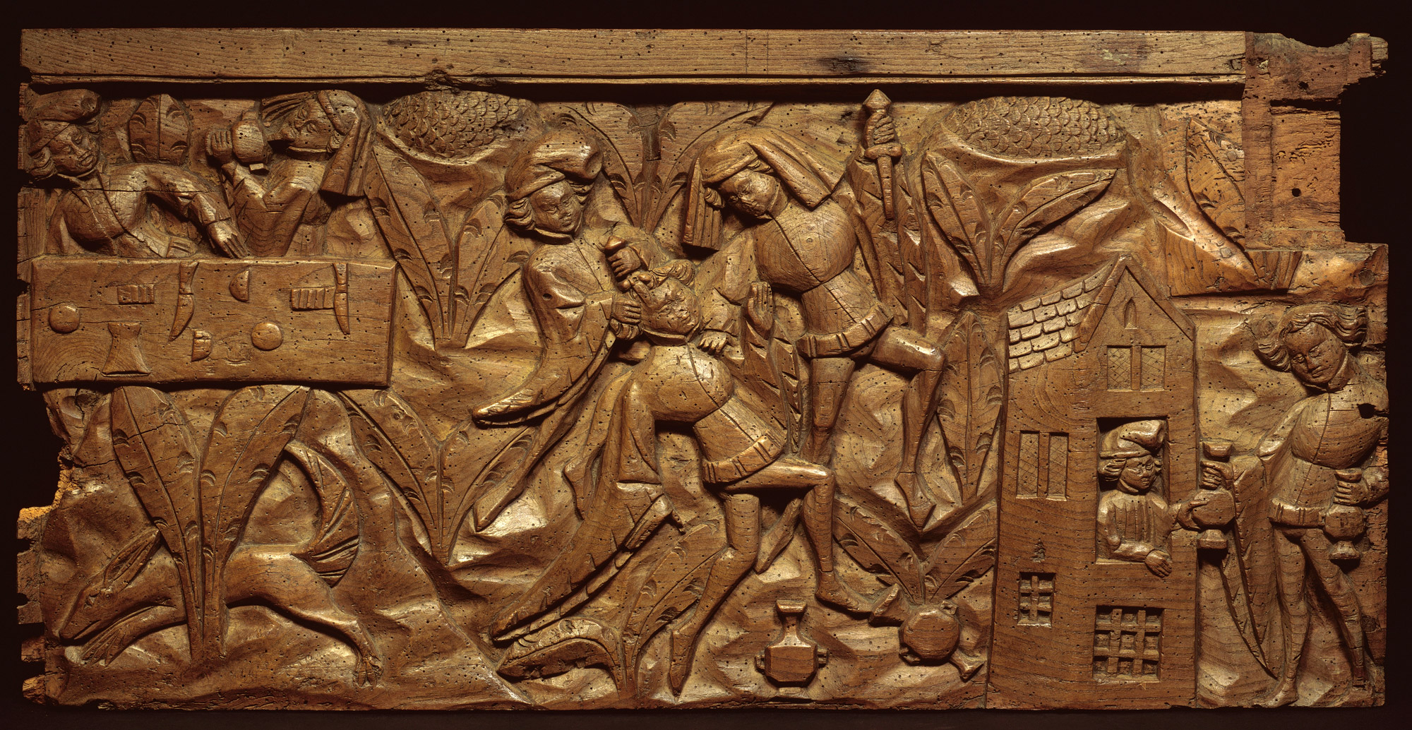 Panel depicting a scene from the Pardoner's Tale