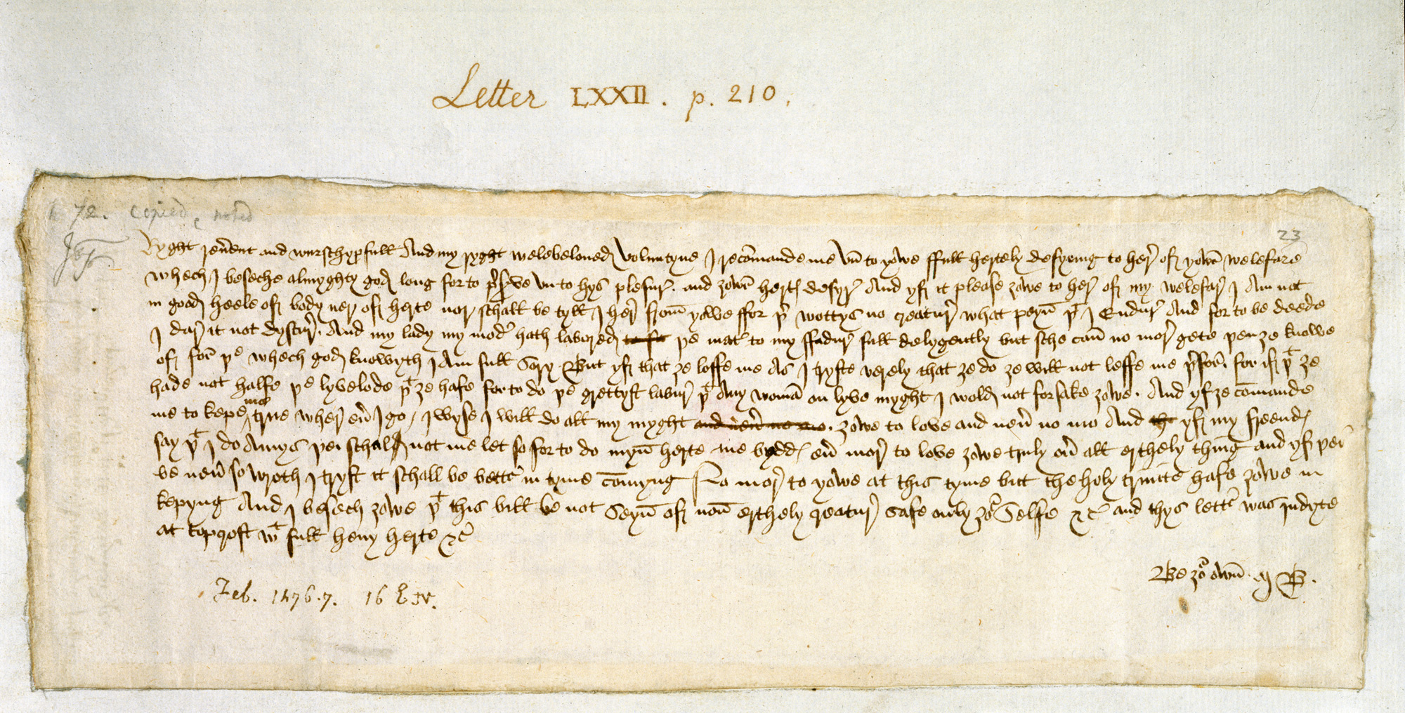 Valentine S Day Love Letter From Margery Brews To John Paston The
