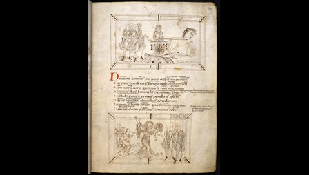 Two illustrations from a 10th-century copy of Prudentius' Psychomachia, depicting Indulgence in her chariot persuading men to lay down their weapons, and Pride leaving a feast.