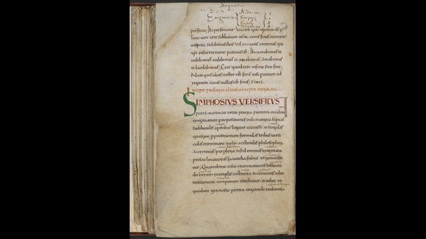 A text page from a 10th-century manuscript, featuring the prologue to a collection of Aldhelm's riddles.