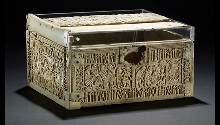 The Franks Casket, an 8th-century whale-bone box, carved with narrative scenes and inscriptions in runic and Latin letters.