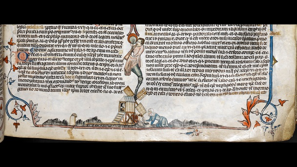 A marginal illustration of a woman setting a mill alight, from the Smithfield Decretals.