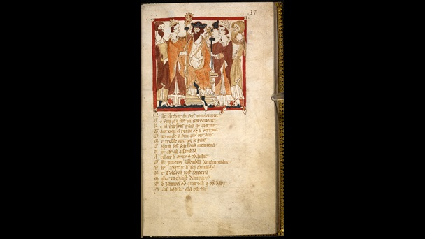 A page from a 14th-century manuscript of Wace's Roman de Brut, featuring an illustration of the coronation of Arthur.