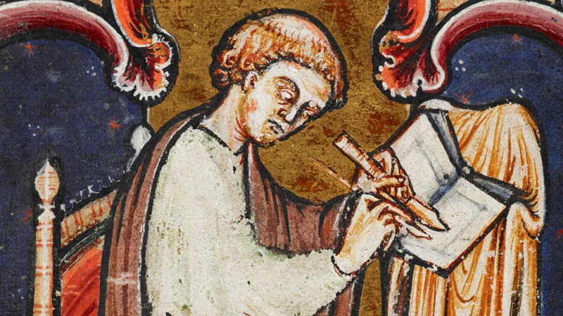 A portrait of a monk, probably Bede, writing at a desk.