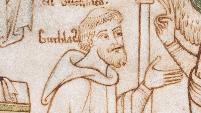 A portrait of St Guthlac, from the Guthlac Roll.