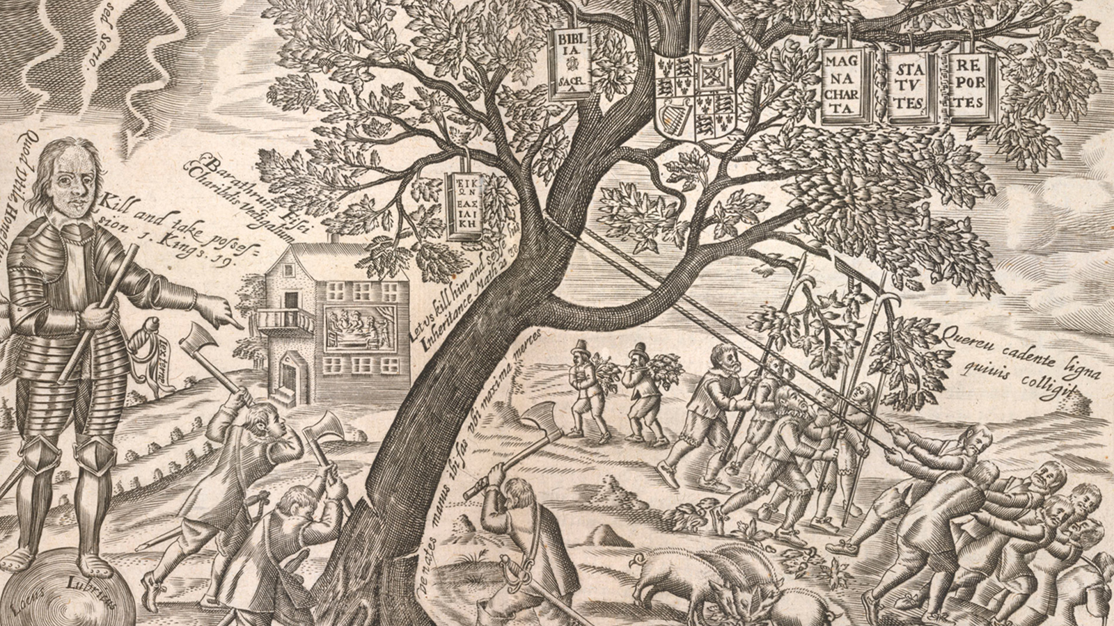 Turbulent 17th century crop depicting Oliver Cromwell cutting down the tree of the monarchy