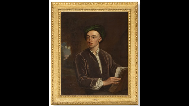 Painted portrait of Alexander Pope in velvet cap and jacket, holding a copy of The Iliad