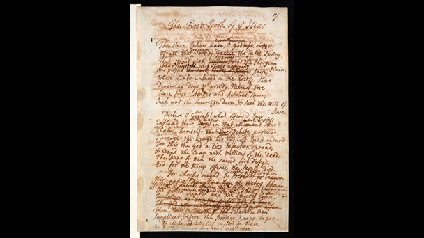 First page from Alexander Pope's handwritten translation of the 'Iliad'