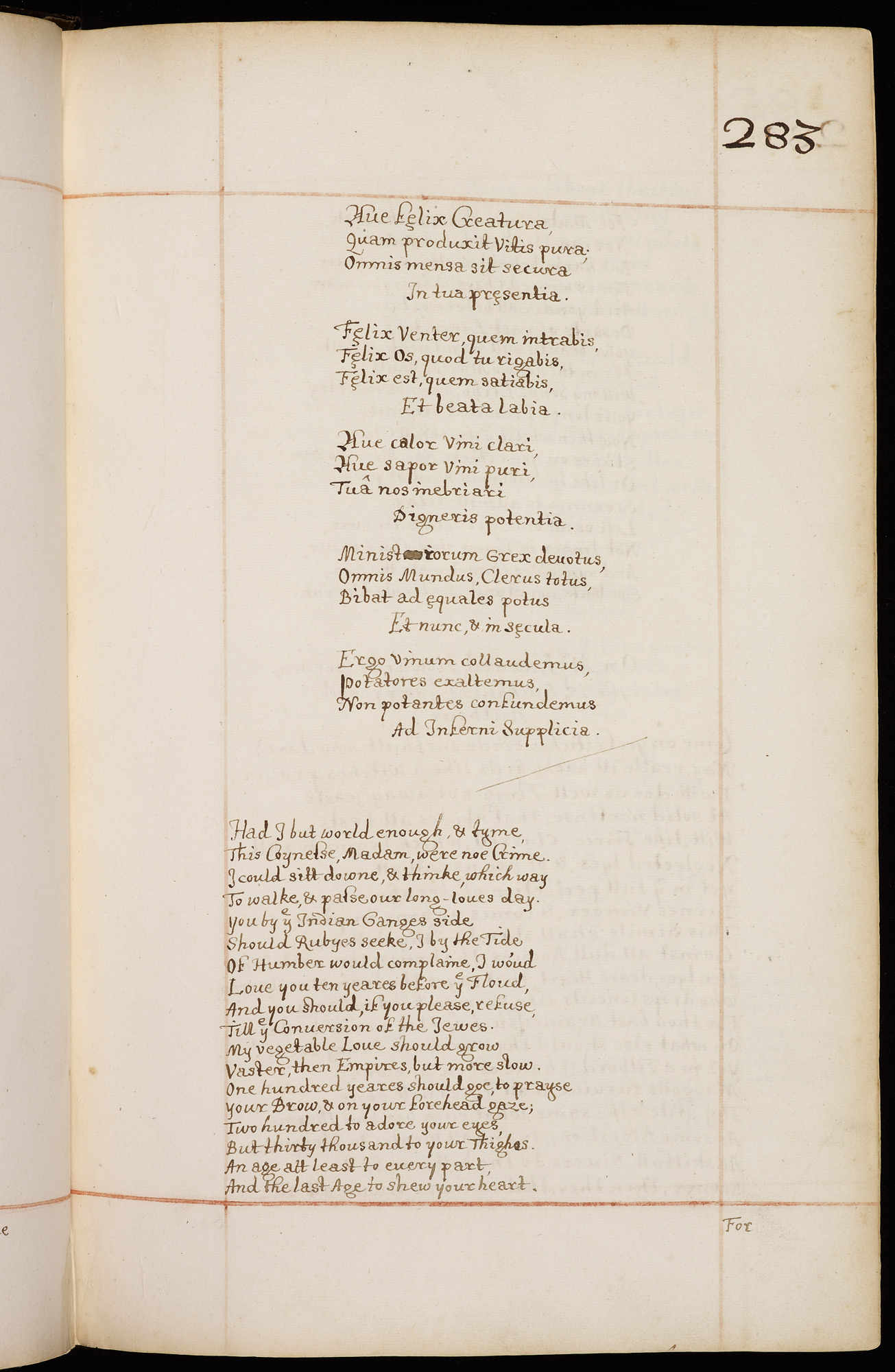 An early manuscript copy of Marvell's 'To His Coy Mistress'