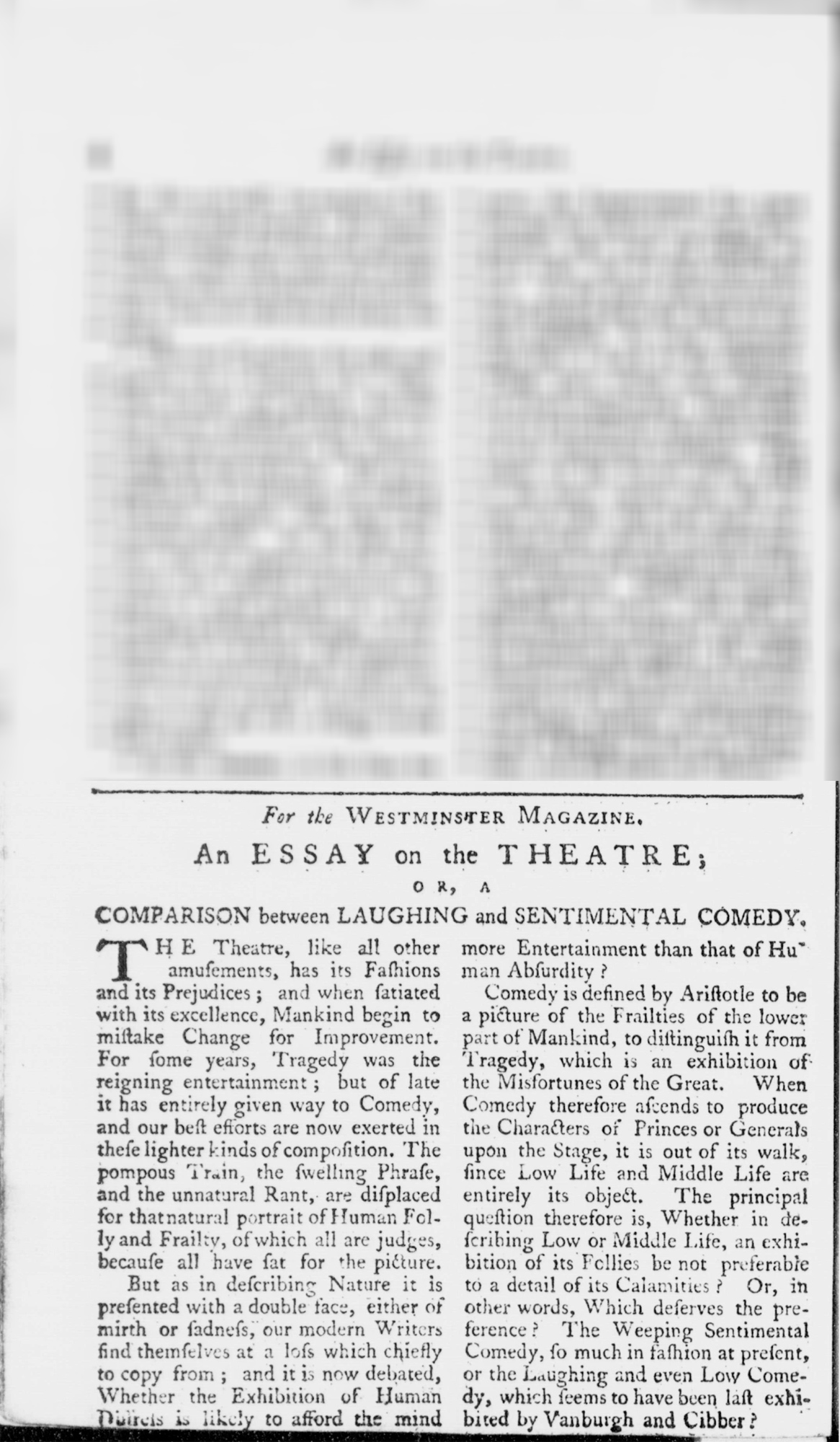 Essay on Theatre; or, A Comparison Between Laughing and Sentimental Comedy'